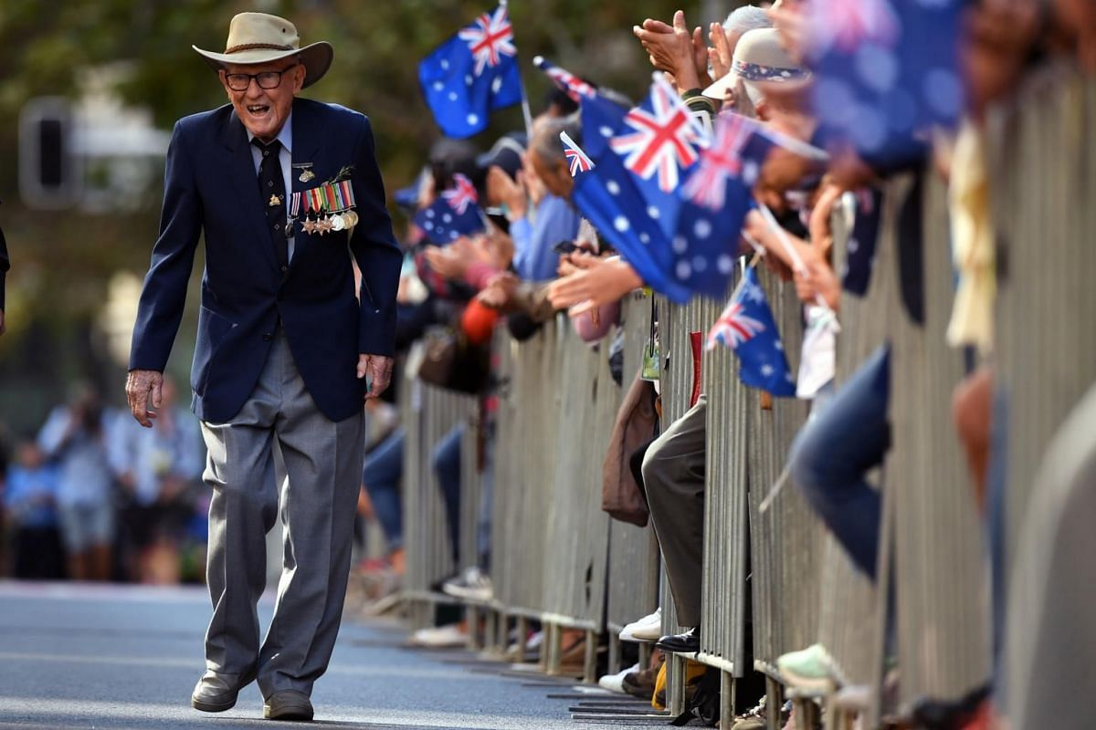 A former serviceman taking part in an Anzac Day march in Sydney.