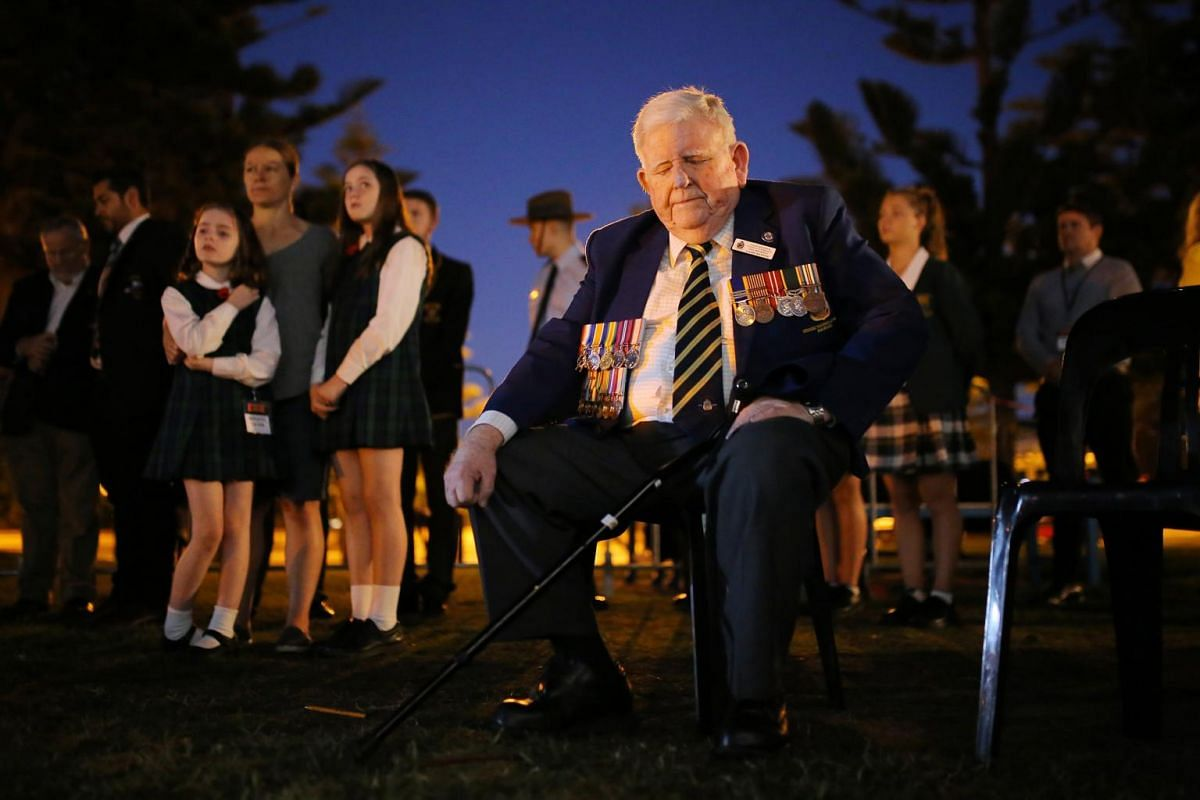 Coogee RSL vice-president Laurie Manning attending an Anzac Day dawn service at Coogee Beach in Sydney.