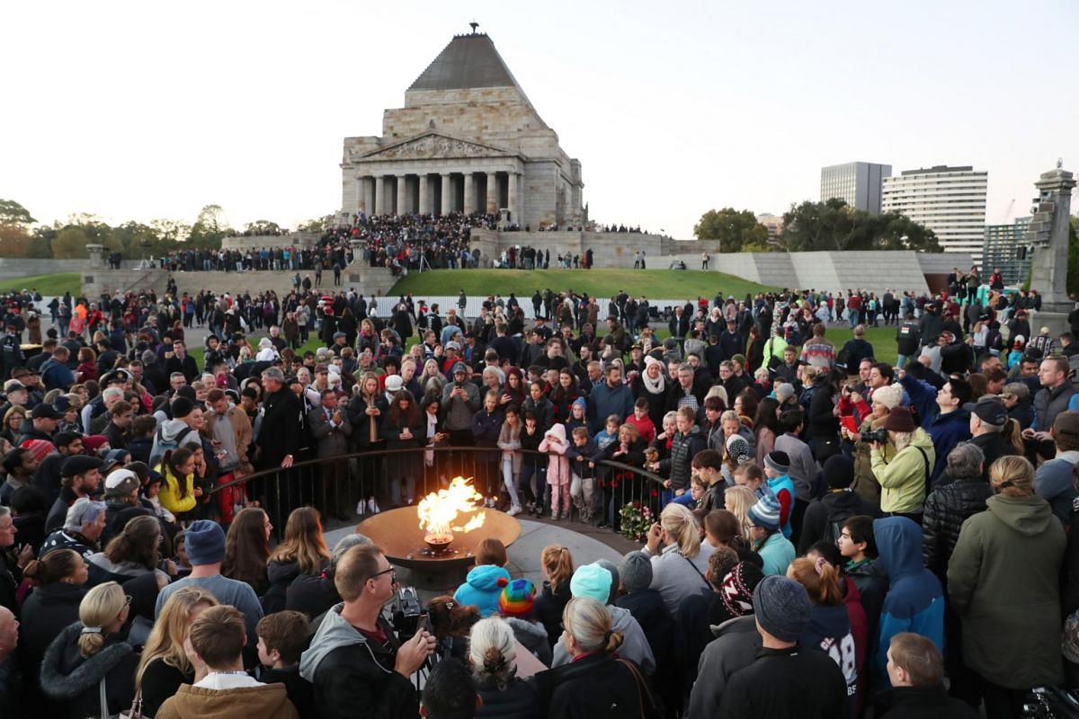 People gathering during an Anzac Day dawn service at the Shrine of Remembrance in Melbourne.