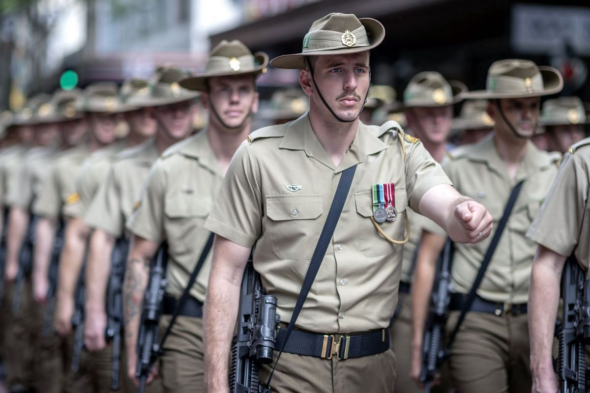 Soldiers marching during an Anzac Day parade in Brisbane.