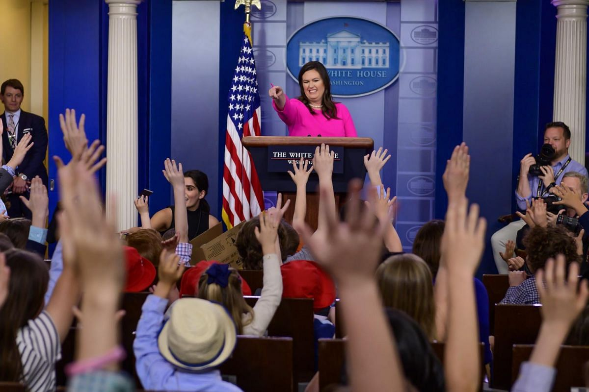 White House Press Secretary Sarah Huckabee Sanders takes questions from children of White House staff and journalists.