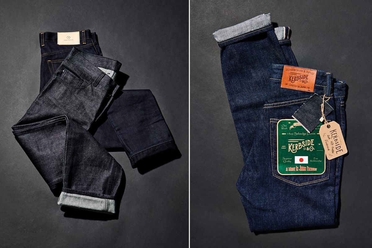 (Left) Journal Projects' raw denim comes from Okayama, Japan, Thailand and sometimes China and is in different weights from 340g. Seasonal olive or grey denim are also available occasionally. (Right) Lot 81-01 is Kerbside & Co.'s most popular style a