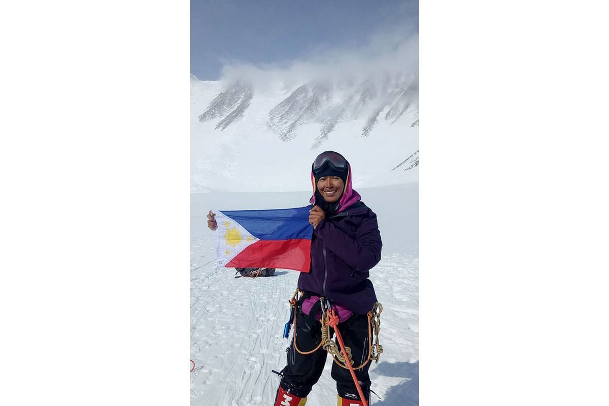 Filipino mountaineer Carina Dayondon (foreground) and two of her teammates, on Mount Denali, in Alaska, North America's highest peak, in 2006. Lacking an outfitter and a guide, it took her team six tries and 37 days to reach the summit. At least 100