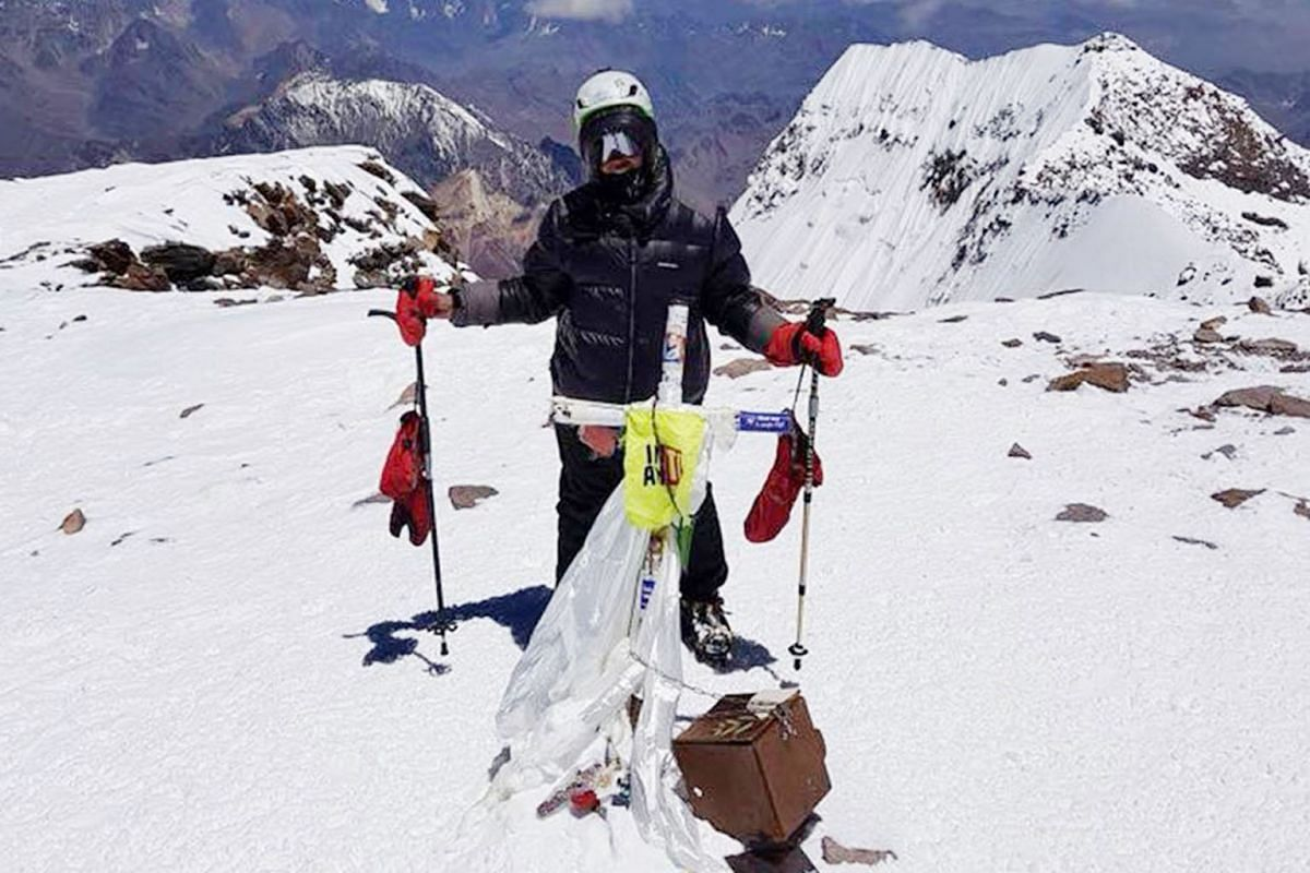 Ms Dayondon at the top of Mount Aconcagua, Argentina, the highest point in the Southern Hemisphere, last year. She scaled it on her second attempt.