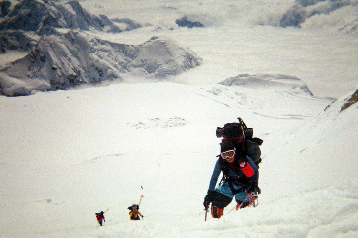 Ms Dayondon displaying the Philippine flag on top of Mount Vinson, Antarctica, in December last year, marking the end of her quest to scale the Seven Summits.