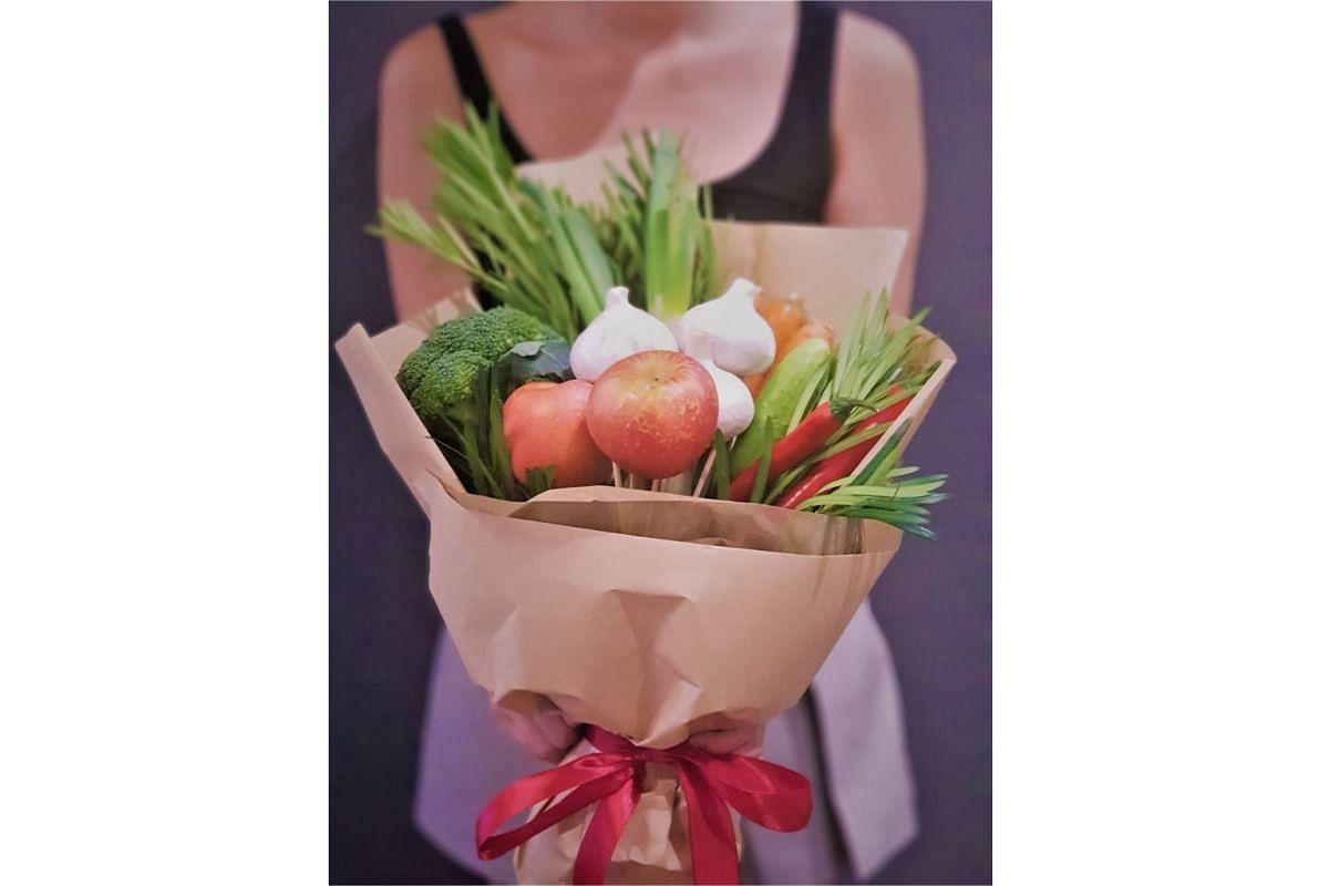 Organic vegetable an fruit bouquet.