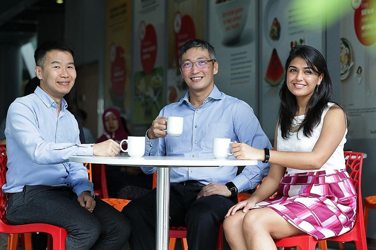 Health Promotion Board chief Zee Yoong Kang (centre), with colleagues William Neo, 40, assistant director of the National Healthy Population division, and Shrutika Mangharam, 26, manager, Strategic Planning and Collaboration.