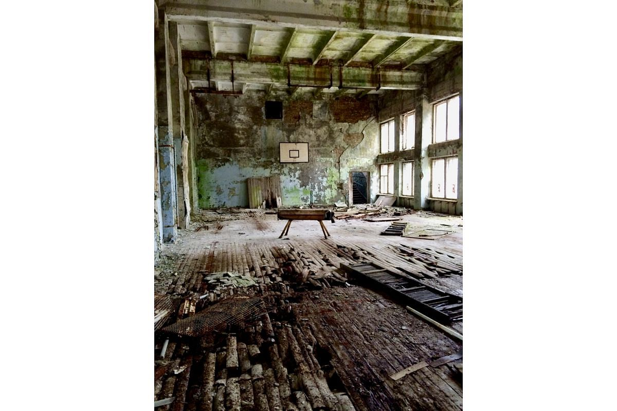 In Pripyat, the evacuated town nearest to the nuclear catastrophe, a vaulting horse sits in a gym.