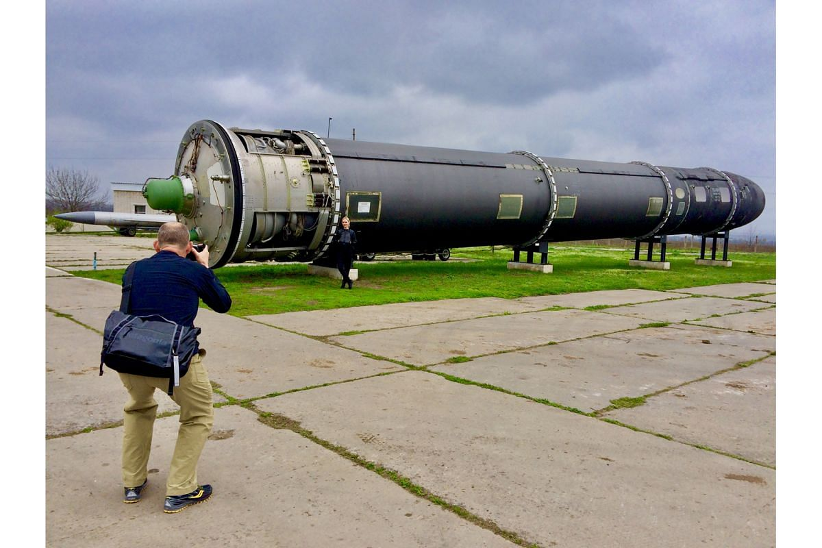 A decommissioned intercontinental ballistic missile at the Strategic Missile Force Base Museum are reminders of Ukraine's Cold War era.