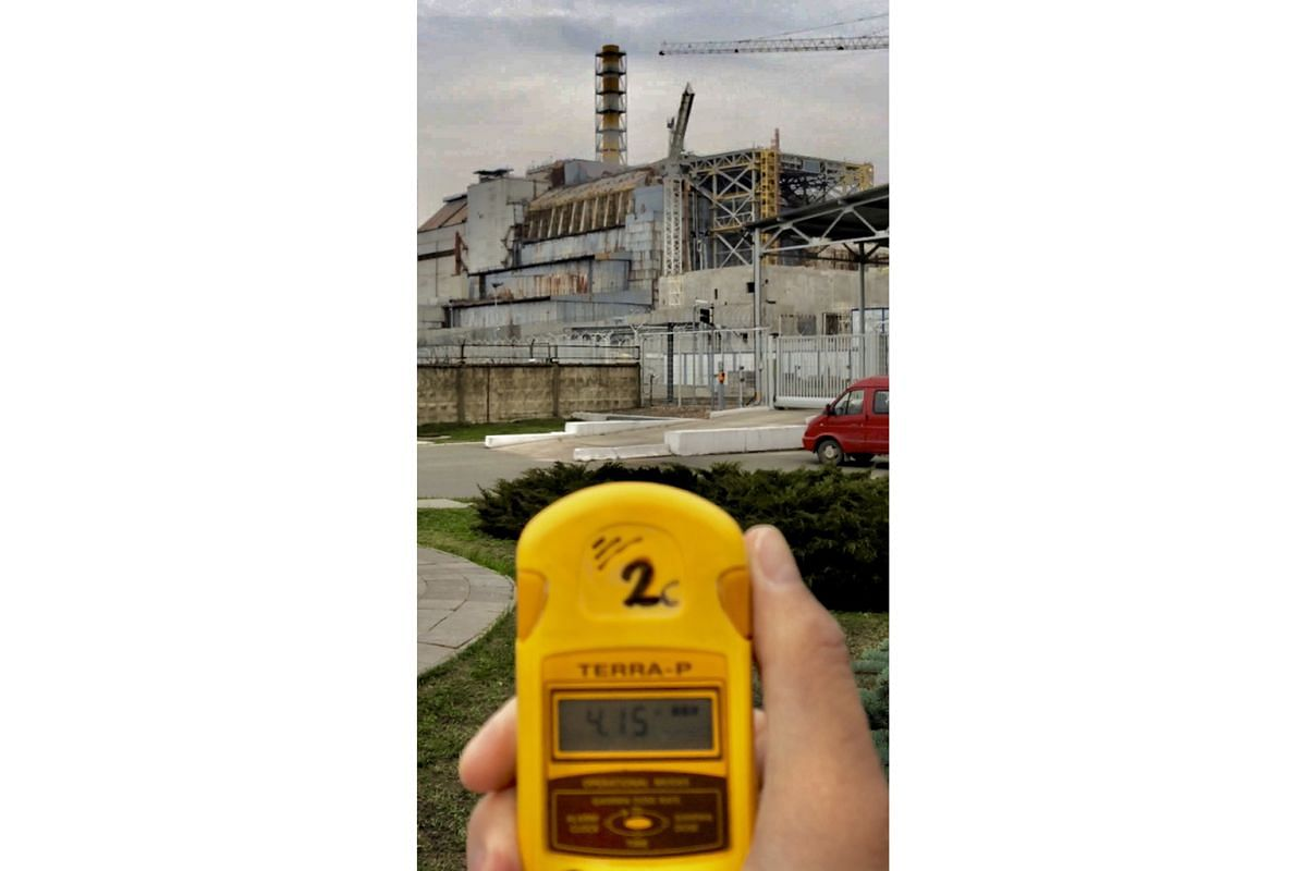 A Geiger Counter being used in the area around Chernobyl's Reactor #4, which blew up on April 26, 1986, after a botched safety test, sending plumes of radioactive ash across Europe.