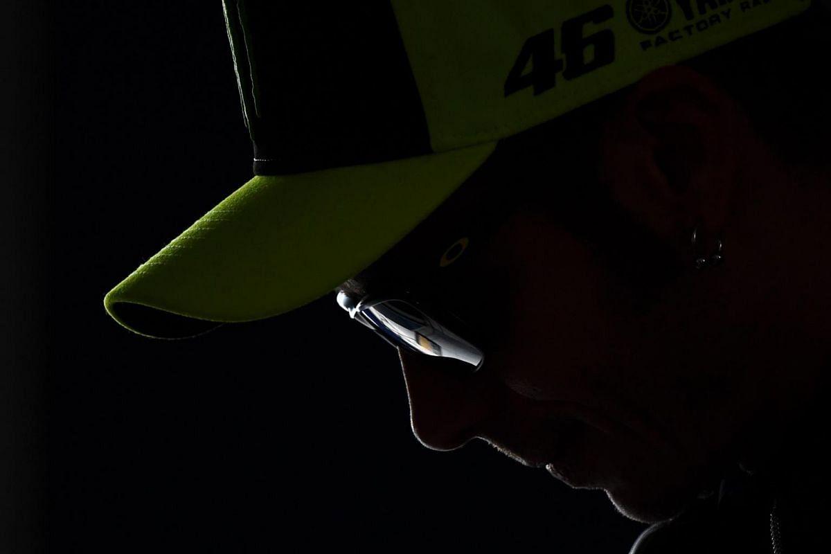 Italian rider Valentino Rossi attends a press conference at the Jerez-Angel Nieto Circuit in Jerez de la Frontera, on May 2, 2019, ahead of the Spanish Grand Prix.