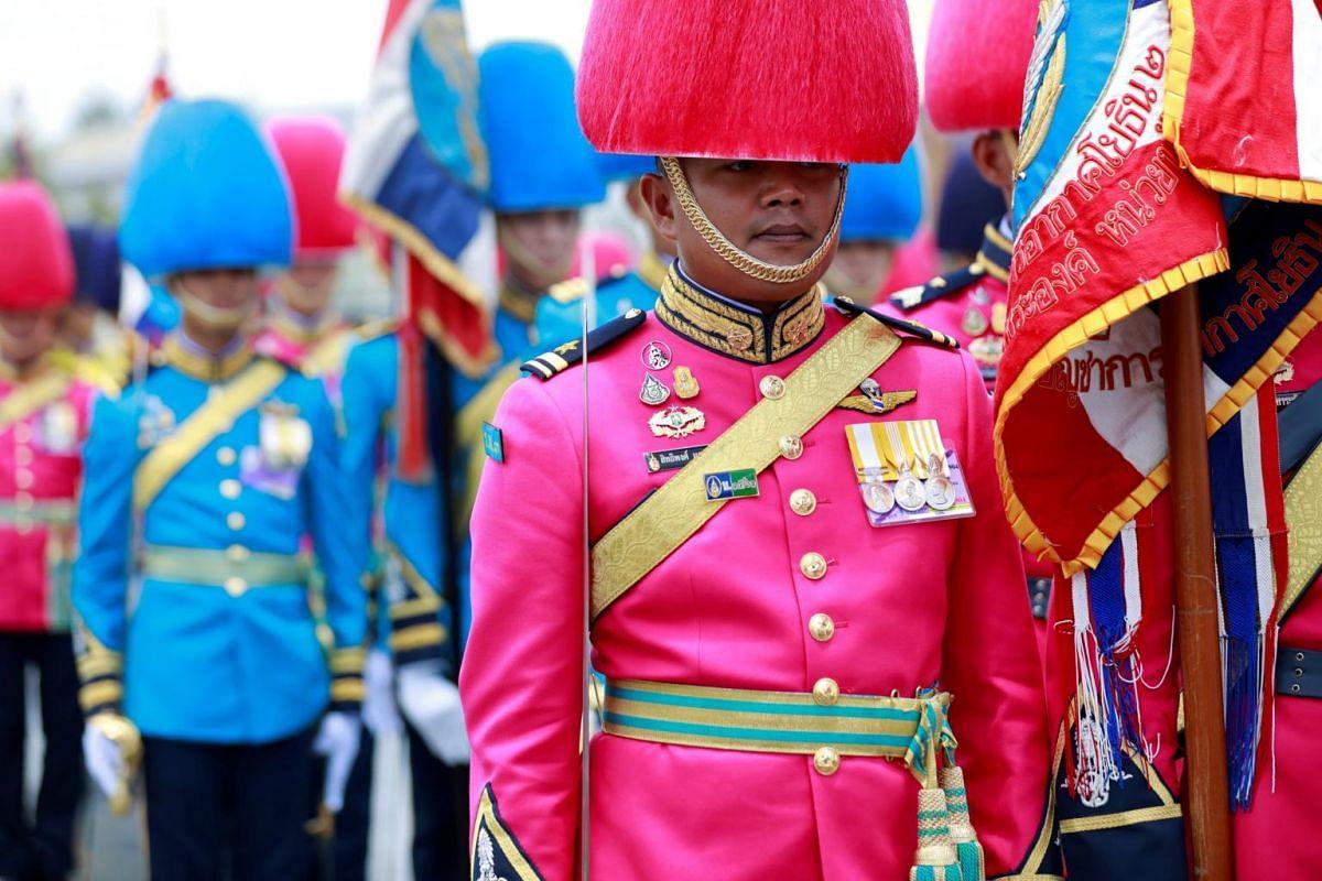 Thai Royal Guards outside the Grand Palace in Bangkok during the coronation of King Maha Vajiralongkorn.