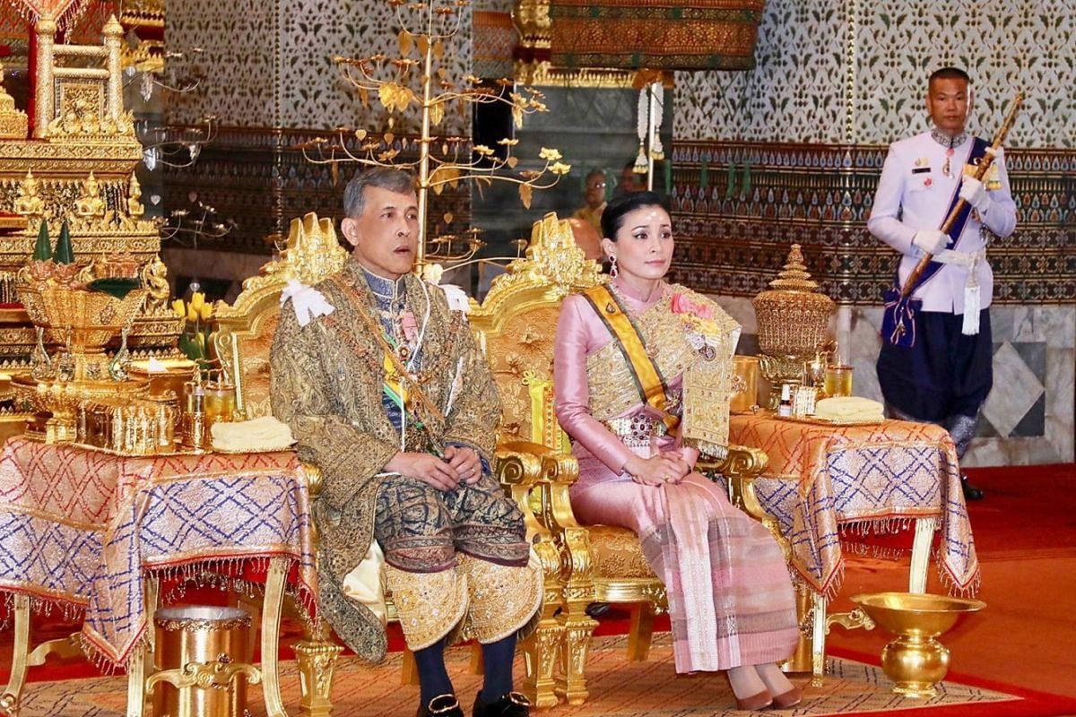 Thai King Maha Vajiralongkorn and Queen Suthida at the coronation ceremony at the Grand Palace on May 4, 2019.