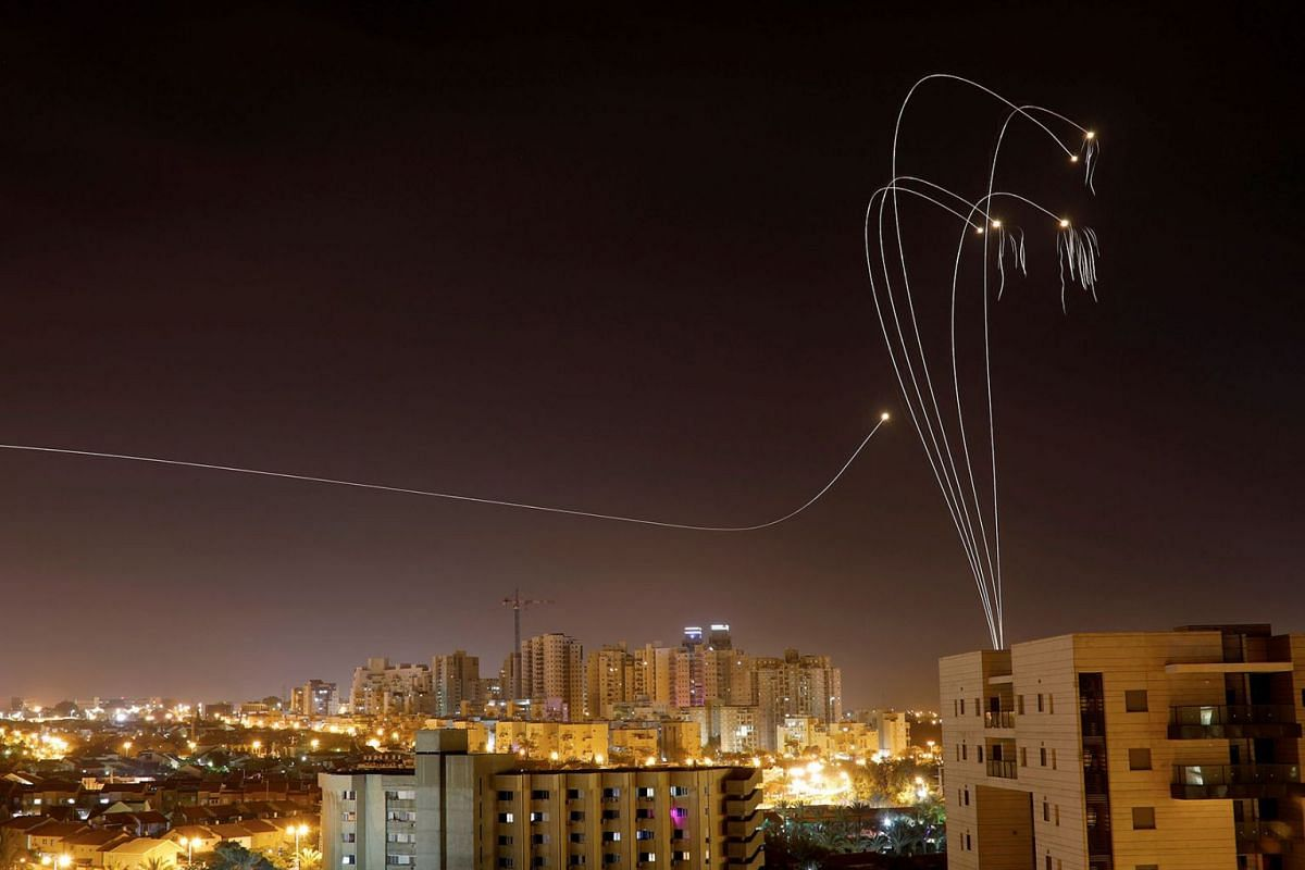 Iron Dome anti-missile system fires interception missiles as rockets are launched from Gaza towards Israel as seen from the city of Ashkelon, Israel, Ashkelon, May 5, 2019. PHOTO: REUTERS