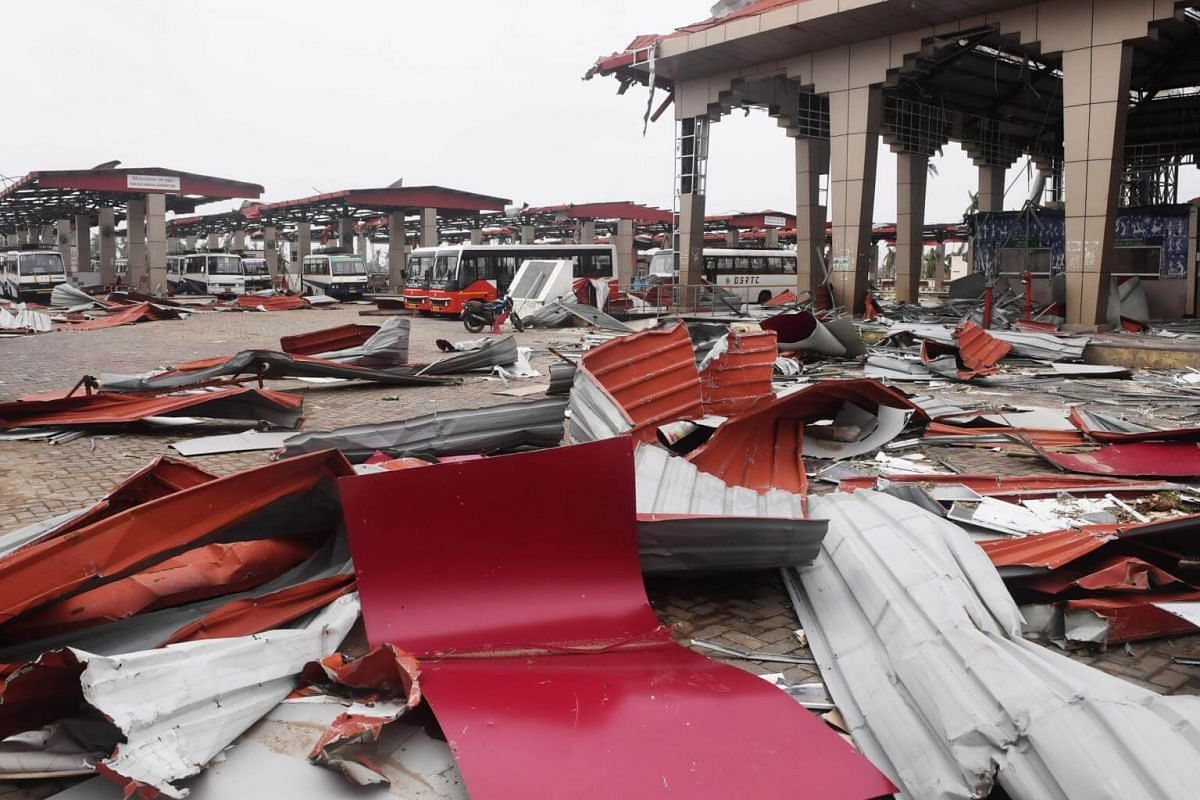 Debris litters the floor at a bus stand in Puri on May 5, 2019, after Cyclone Fani swept through the area.