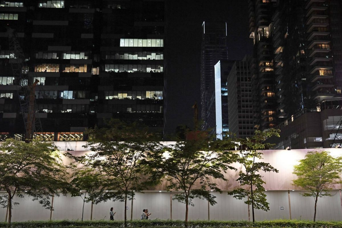 Singapore's Central Business District after dark.