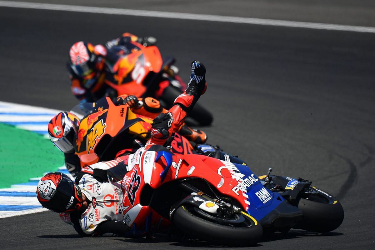 Pramac Racing's Italian rider Francesco Bagnaia falls down during the MotoGP race of the Spanish Grand Prix at the Jerez - Angel Nieto circuit in Jerez de la Frontera on May 5, 2019. PHOTO: AFP
