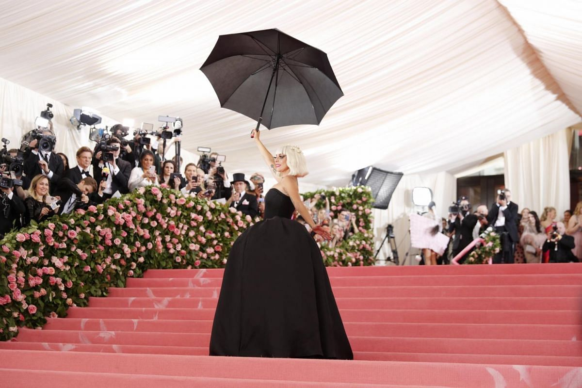 Lady Gaga in a strapless black number, one of her four outfits at the Met Gala, the annual benefit for the Metropolitan Museum of Art's Costume Institute, on May 6, 2019.