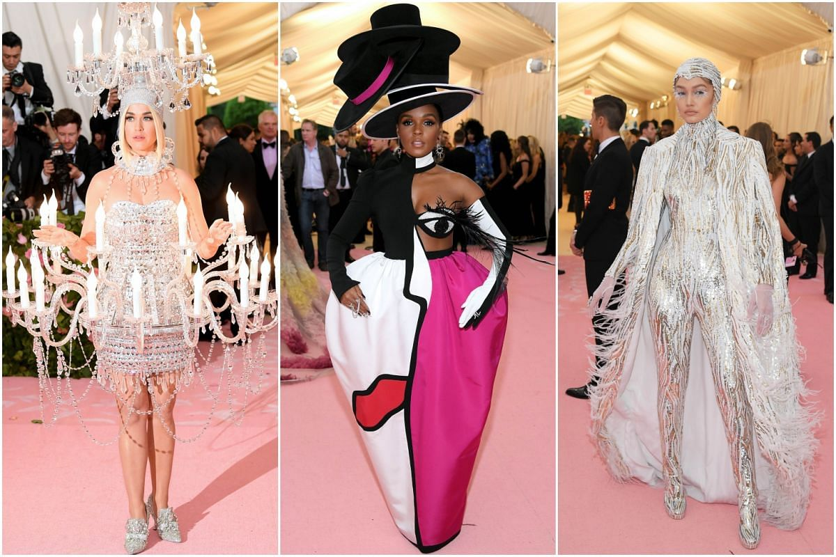 (From left) Singer-songwriters Katy Perry and Janelle Monae and model Gigi Hadid arrive for the Met Gala at the Metropolitan Museum of Art on May 6, 2019.