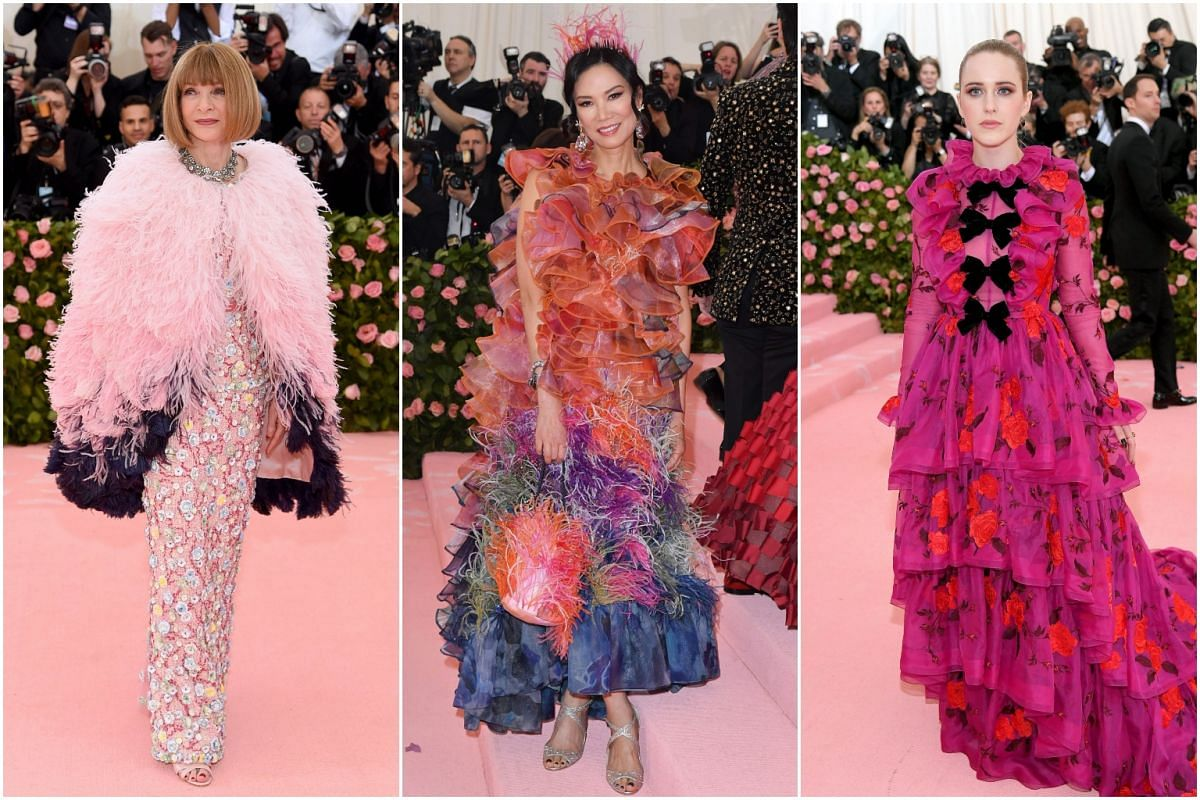 (From left) American Vogue editor-in-chief Anna Wintour, entrepreneur Wendi Murdoch and actress Rachel Brosnahan arrive for the Met Gala at the Metropolitan Museum of Art, on May 6, 2019.