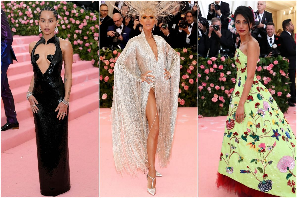 (From left) Actress Zoe Kravitz, singer Celine Dion and Ms Huma Abedin, former United States presidential candidate Hillary Clinton's long-time aide, arrive for the Met Gala at the Metropolitan Museum of Art on May 6, 2019.