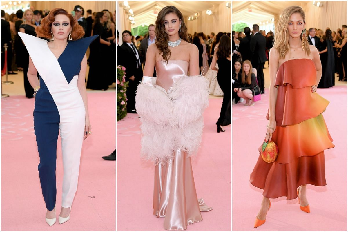 Actress Natasha Lyonne, model Taylor Hill and fashion influencer Sofia Sanchez Barrenechea arrive for the Met Gala at the Metropolitan Museum of Art on May 6, 2019.