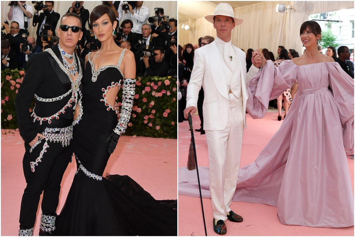 (From left) Designer Jeremy Scott, model Bella Hadid, actor Benedict Cumberbatch and his wife, playwright Sophie Hunter, arrive for the Met Gala at the Metropolitan Museum of Art on May 6, 2019.