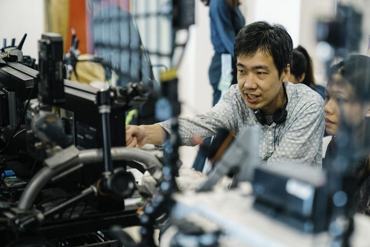 Artist Song-Ming Ang at the filming of Recorder Rewrite.