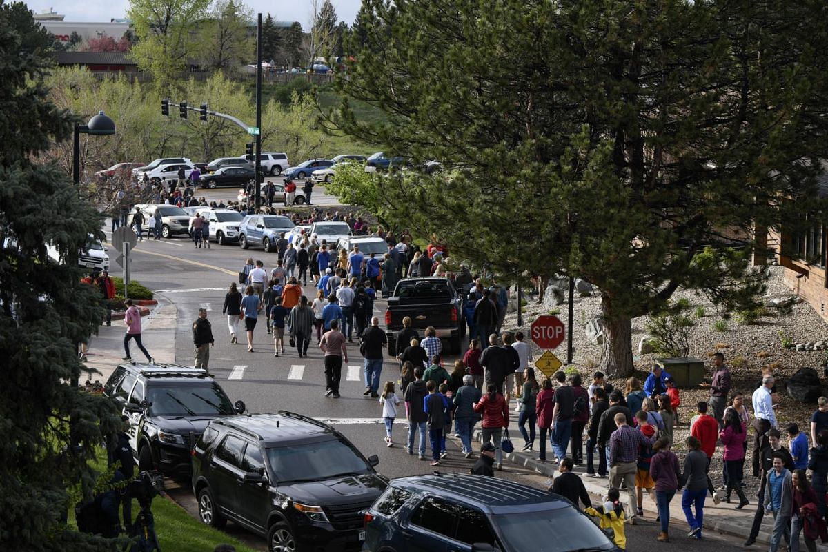 Students who were not injured were taken to Northridge Recreation Centre in Highlands Ranch, where hundreds of anxious parents later gathered to pick up their children on Tuesday afternoon.