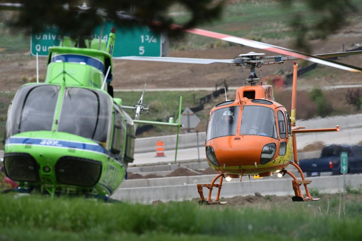 Medical helicopters arrive at the scene after the shooting at STEM School Highlands Ranch.
