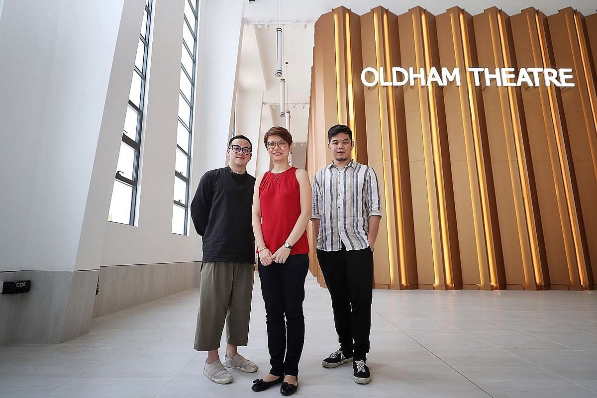 Executive director of the Asian Film Archive Karen Chan (centre) with archivist Chew Tee Pao (left) and programmer and outreach officer Thong Kay Wee at Oldham Theatre in the National Archives of Singapore.