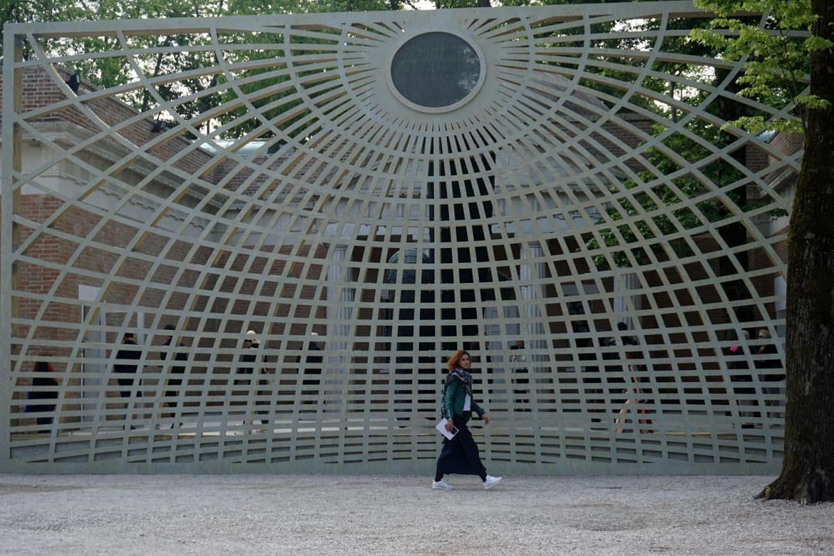 A sculpture at the United States pavilion which houses the Liberty-Libertà showcase by artist Martin Puryear, at the 58th International Art Exhibition of the Venice Biennale on May 8, 2019.
