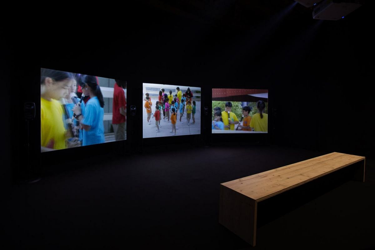 Recorder Rewrite film plays at the Singapore pavilion at the 58th International Art Exhibition of the Venice Biennale.