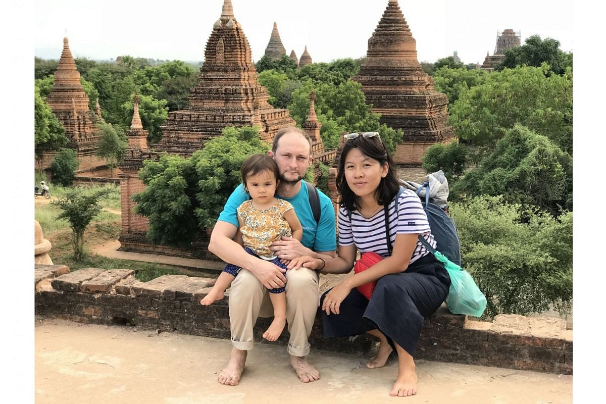 The writer, her husband and their daughter, Elna, two, in Bagan.