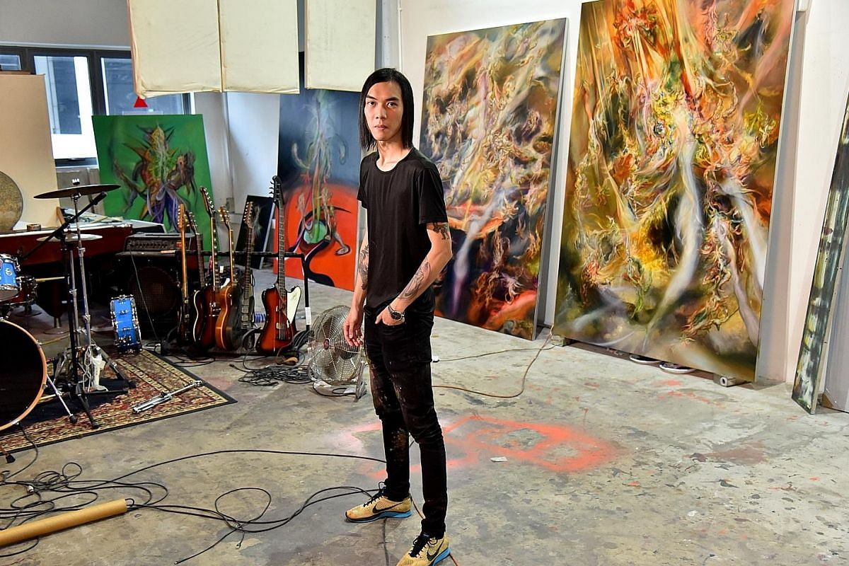 Artist Kanchana Gupta's studio in MacPherson is where she experiments with compressing material into solid blocks of colour for her upcoming show. When he is not busy painting works for his new show in Milan, artist Ruben Pang is jamming with his ban