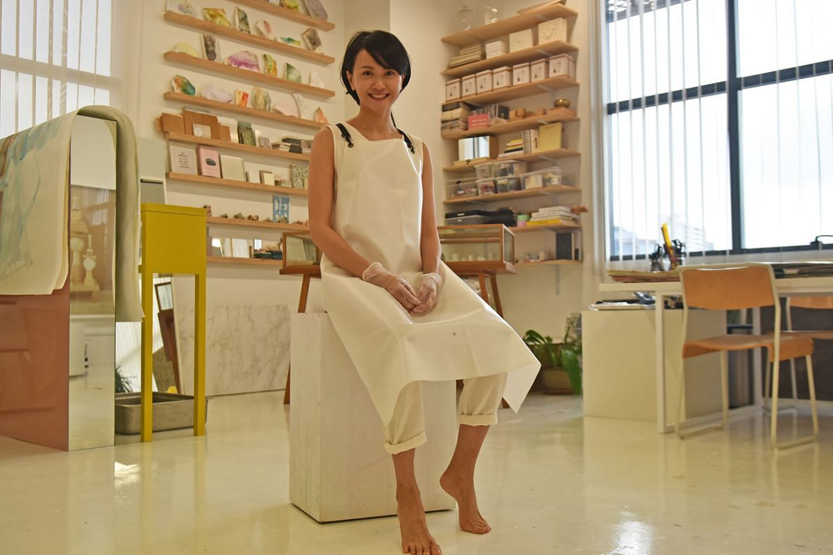 Artist Dawn Ng has just renewed the lease on a 1,000 sq ft space in a light industrial building in Kallang that she has equipped with lighting, shelves and suspension rigs.