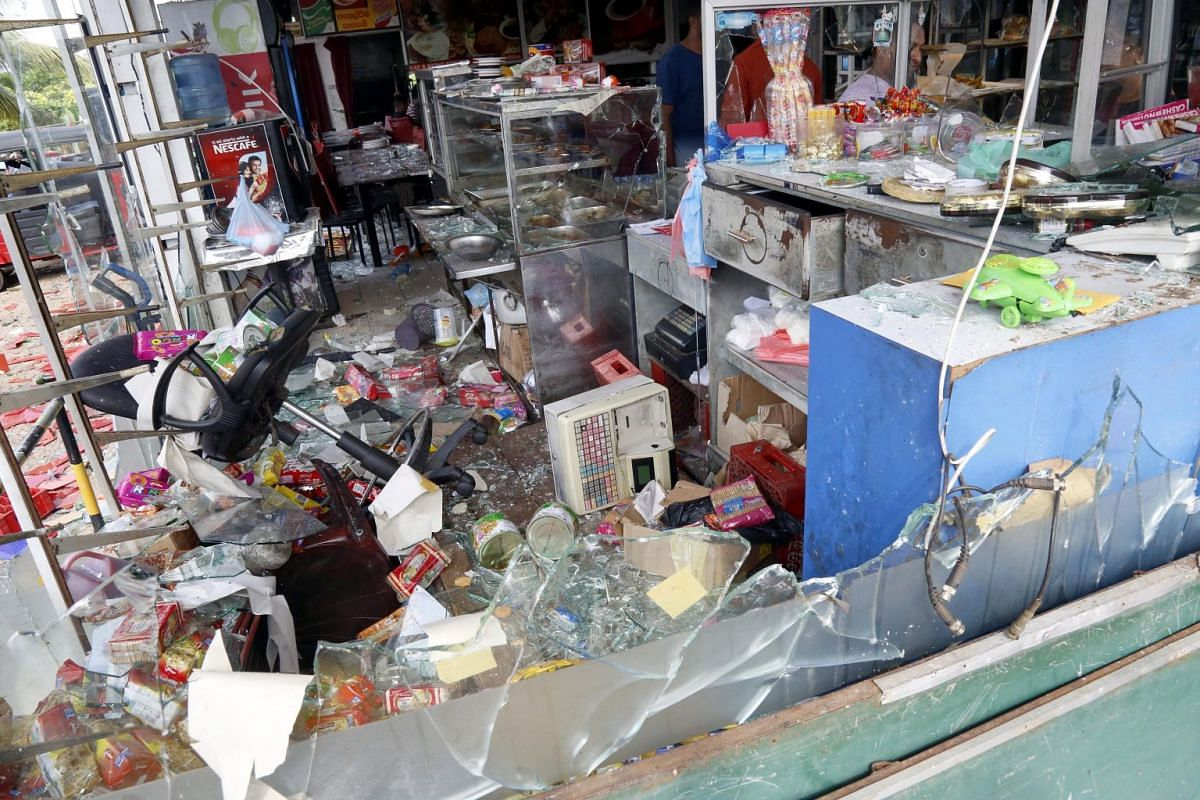 The interior of a vandalised shop after sectarian clashes in Minuwangoda, Sri Lanka on May 14, 2019.