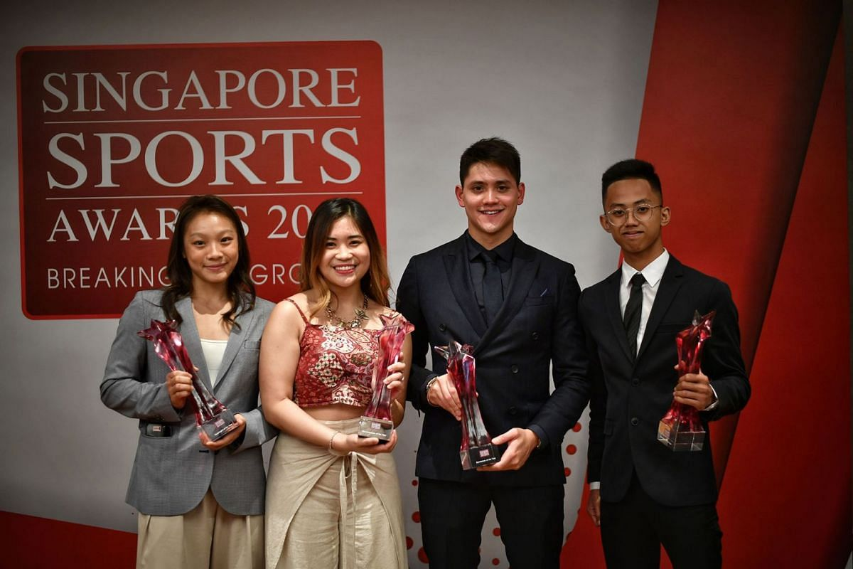 The big winners at the Singapore Sports Awards 2019 on May 14, 2019, are, from left, Sportsgirl of the Year Constance Lien, Sportswoman of the Year Martina Veloso, Sportsman of the Year Joseph Schooling, and Sportsboy of the Year, Hazim Yusli. PHOTO: