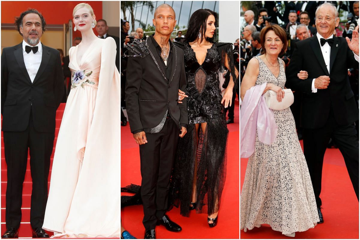 (From left) Director Alejandro Gonzalez Inarritu, actress Elle Fanning, model Jeremy Meeks, model Andreea Sasu, and actor Bill Murray and his guest arrive for the screening of The Dead Don't Die and the Opening Ceremony of the 72nd annual Cannes Film
