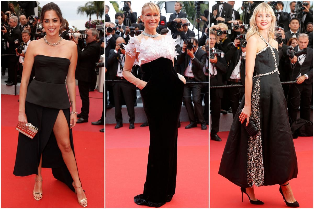 (From left) Actresses Anouchka Delon and Estelle Lefebure, and singer Angele at the 72nd annual Cannes Film Festival.