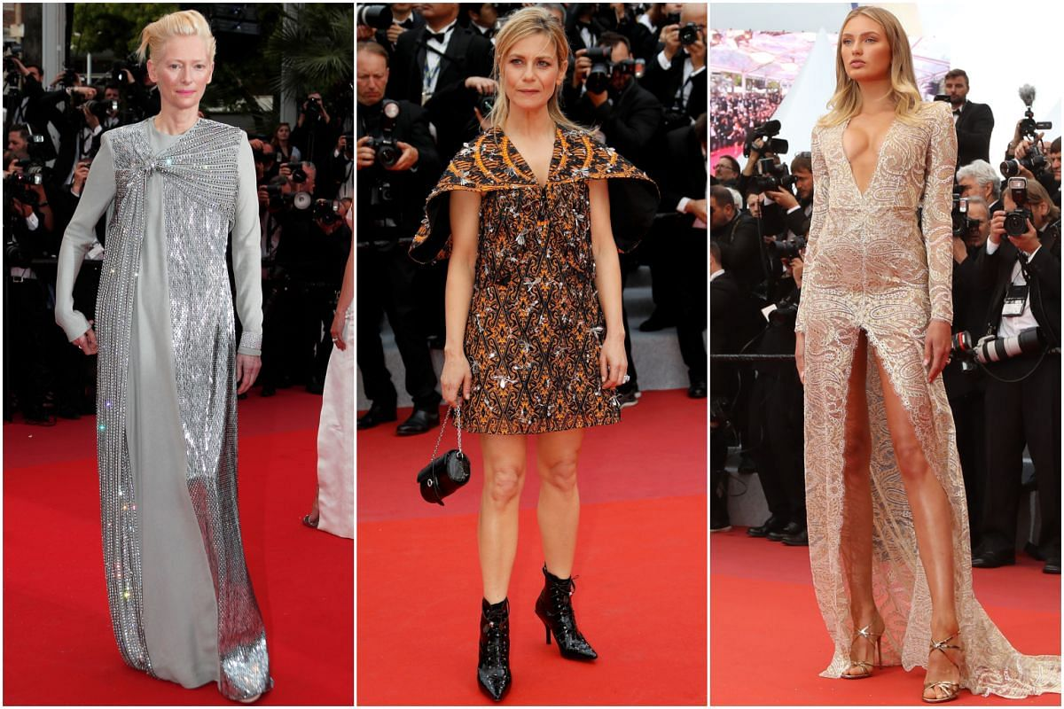 (From left) Actresses Tilda Swinton and Marina Fois, and model Romee Strijd at the 72nd annual Cannes Film Festival.