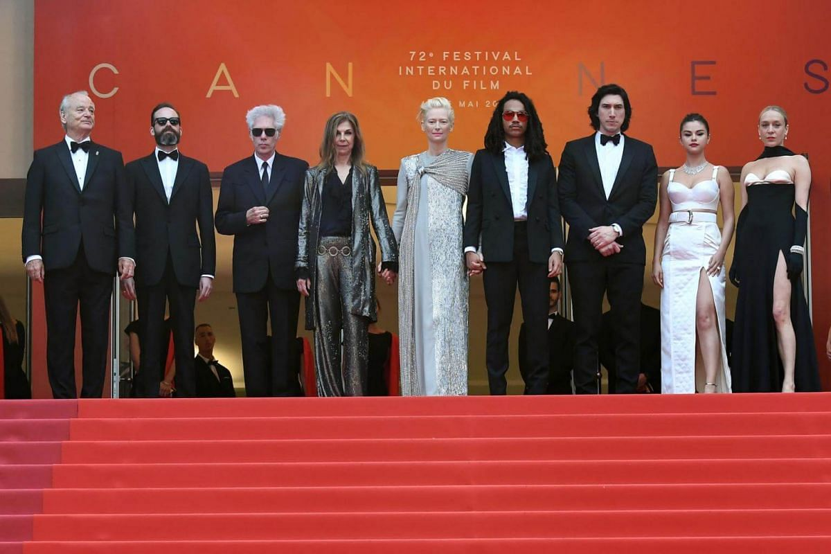(From left)  The cast of The Dead Don't Die: Actor Bill Murray, producer Carter Logan, director Jim Jarmusch, director Sara Driver, actress Tilda Swinton, actor Luka Sabbat, actor Adam Driver, actress Selena Gomez and actress Chloe Sevigny at the 72n