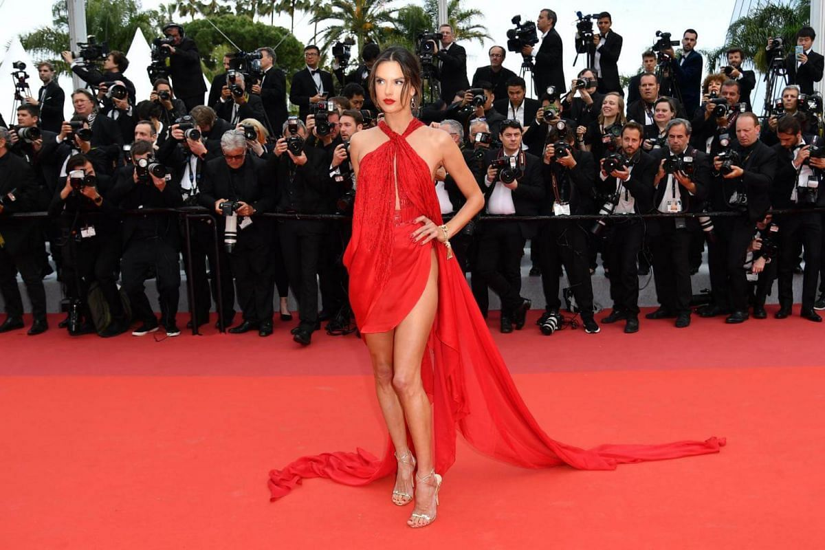 Model Alessandra Ambrosio poses as she arrives for the screening of the film Les Miserables at the 72nd edition of the Cannes Film Festival in Cannes, France, on May 15, 2019.