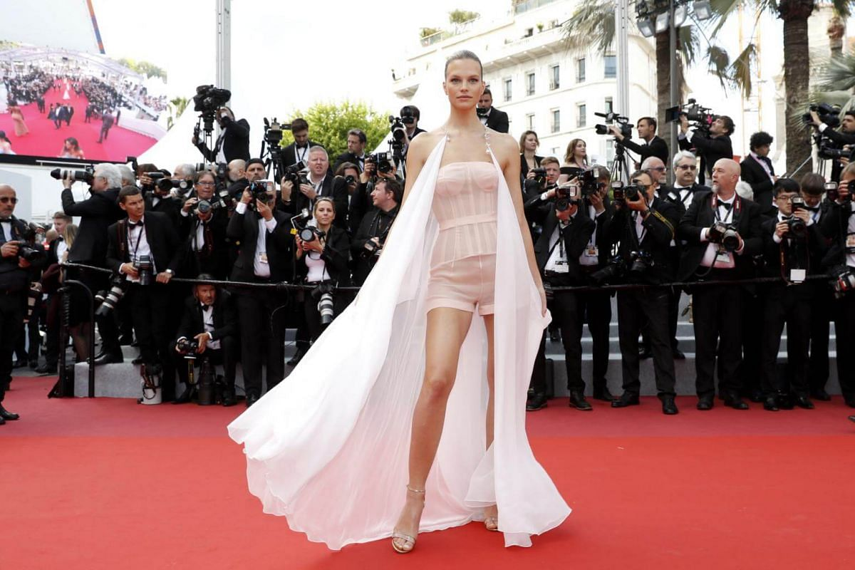 Model Nadine Leopold poses as she arrives for the screening of the film Les Miserables at the 72nd annual Cannes Film Festival, on May 15, 2019.