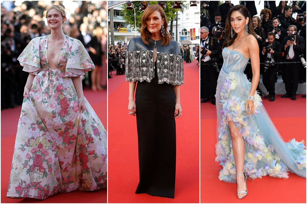 (From left) Actresses Elle Fanning, Julianne Moore and Araya Hargate at the screening of the film Les Miserables at the 72nd edition of the Cannes Film Festival in Cannes, France, on May 15, 2019.
