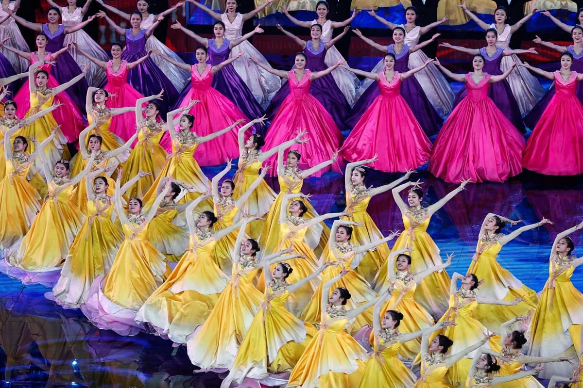 Dancers perform during the Asian Culture Carnival at the National Stadium, known as the Bird's Nest, in Beijing, China on May 15, 2019.