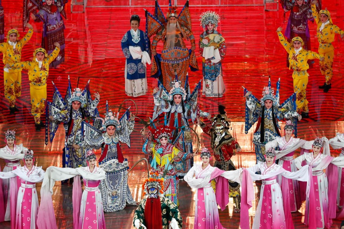"""Artists perform the Peking Opera medley """"An Era of Prosperity"""" during the Asian Culture Carnival at the National Stadium, known as the Bird's Nest, in Beijing, China on May 15, 2019."""