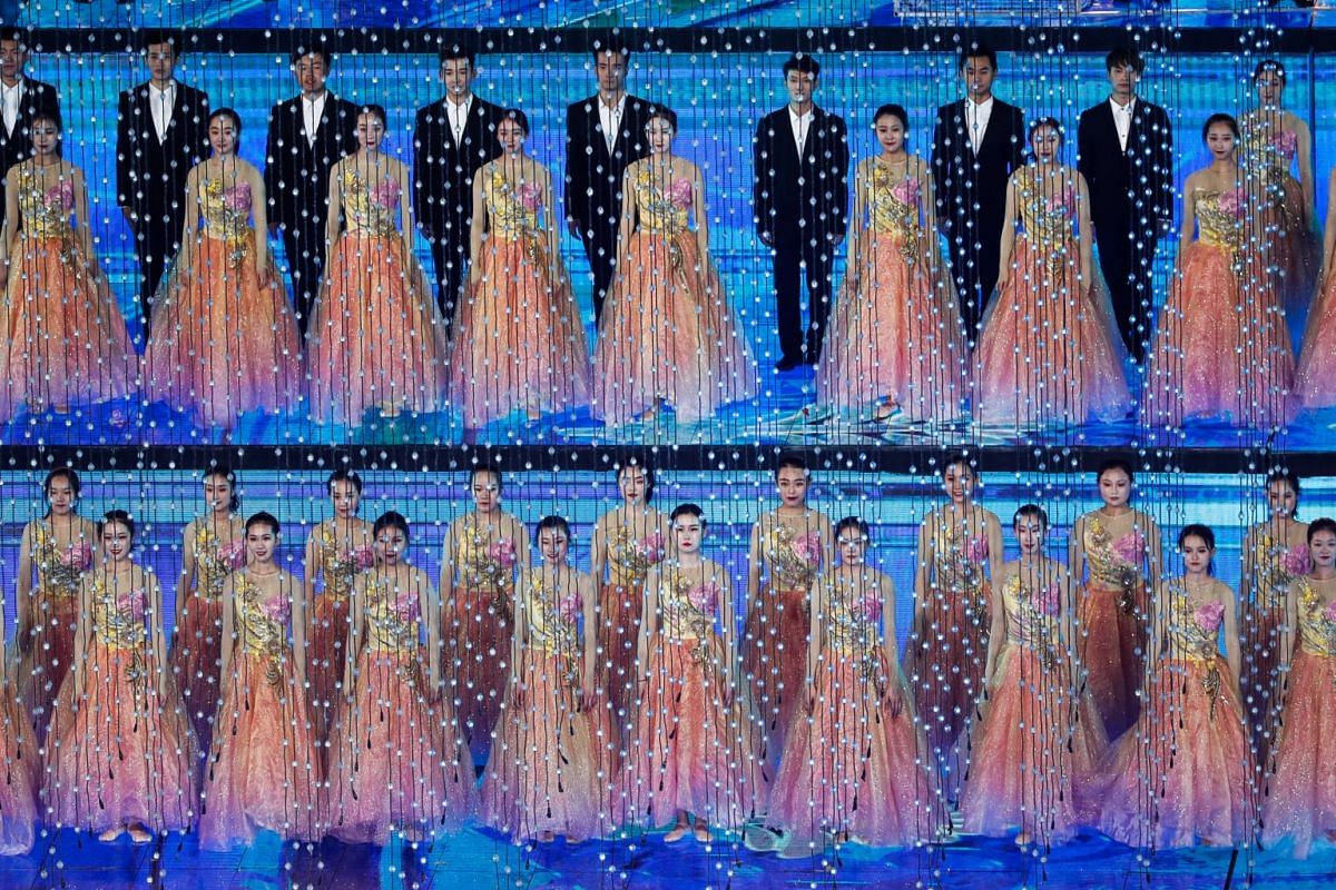 Artists perform during the Asian Culture Carnival at the National Stadium, known as the Bird's Nest, in Beijing, China on May 15, 2019.