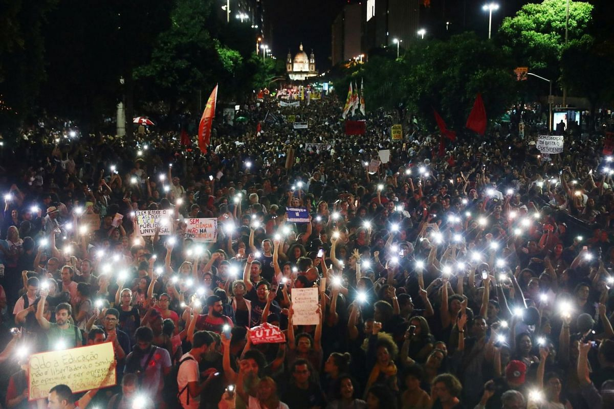 Demonstrators gather in Rio de Janeiro on May 15, 2019.