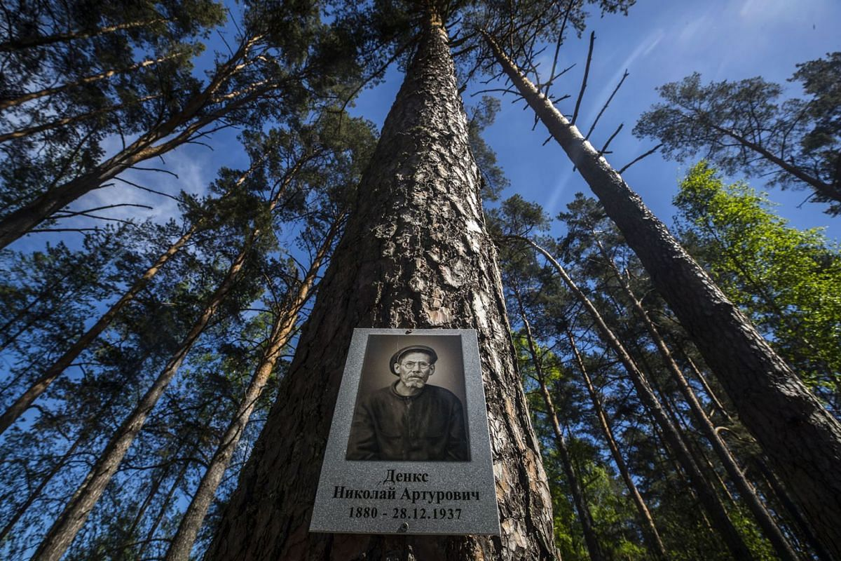 A visitor walks behind a picture of the murdered Soviet citizenship near the mass-grave in the Memorial Complex Mednoye in Mednoye village, Tver region, 215km from Moscow, Russia, May 16, 2019. PHOTO: EPA-EFE